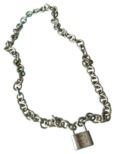 Tiffany & Co. Tiffany Silver Link Necklace With Removable 1837 Lock w/ POUCH!