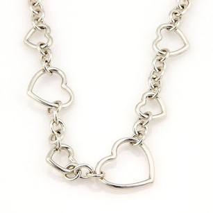 Tiffany & Co. Unusual Tiffany Co. Sterling Silver Heart Link Designer Necklace