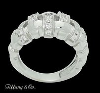 Tiffany & Co. Vintage Tiffany Co. 18k White Gold 1.50 Tcw Diamond Woven Band Ring R727
