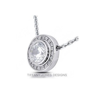 Tiffany Jones Designs 0.59ctw D-si3 Ideal Round Natural Diamond 14k Bezel Style Accent Pendant 11.3mm