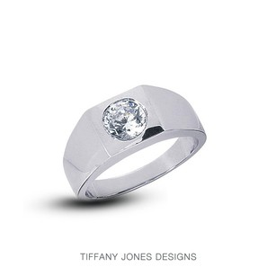 Tiffany Jones Designs 3.02ct G-si1 Ideal Round Natural Diamond 950pl Bezel Set Men Wedding Ring 36.23g