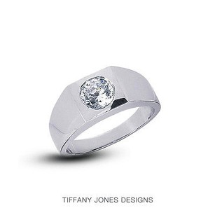Tiffany Jones Designs 3.07ct E-vs2 Vg Round Natural Diamond 950pl Bezel Set Mens Wedding Ring 36.23gr