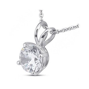 Tiffany Jones Designs 4.01 Carat F-si2 Exc-cut Round Natural Diamond 14k Prong Solitaire Pendant 10mm