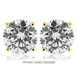 Tiffany Jones Designs 4.04 Ctw H-vs2 Ideal Round Natural Diamonds 14k 4-prong Solitaire Earrings 1.71g