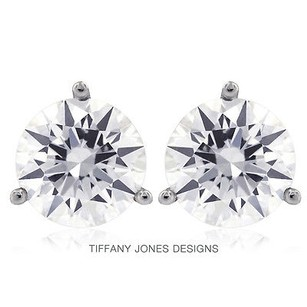 Tiffany Jones Designs 4.08 Ctw F-si1 Ideal Round Natural Diamonds 14k 3-prong Solitaire Earrings 1.62g