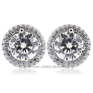 Tiffany Jones Designs 4.50ct Tw H-vs2 Exc Round Natural Diamond 18k Earrings With Halo 3.43gr
