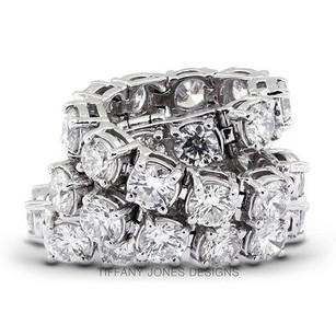 Tiffany Jones Designs Ct Tw F-vs2 Ideal Round Natural Diamonds 14k 4-prong Womens Bracelet 16.78gr