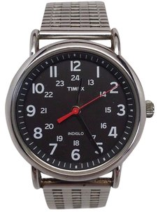 Timex Timex Indiglo Silver Stainless Steel Band And Case Black Dial