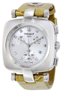 Tissot TISSOT Odaci-T Chronograph Silver Dial Beige Leather Ladies Watch T0203171603700
