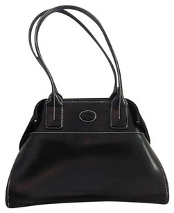 Tod's Black Leather Clinch Stitching Double Handles K Tote in White
