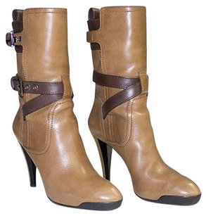 Tod's Tan Leather Pointy Tronchy Mid Calf Heels Org Chic Brown Boots