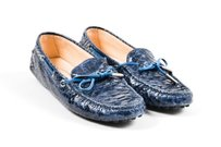 Tod's Tods Navy Python Glossy Blue Flats