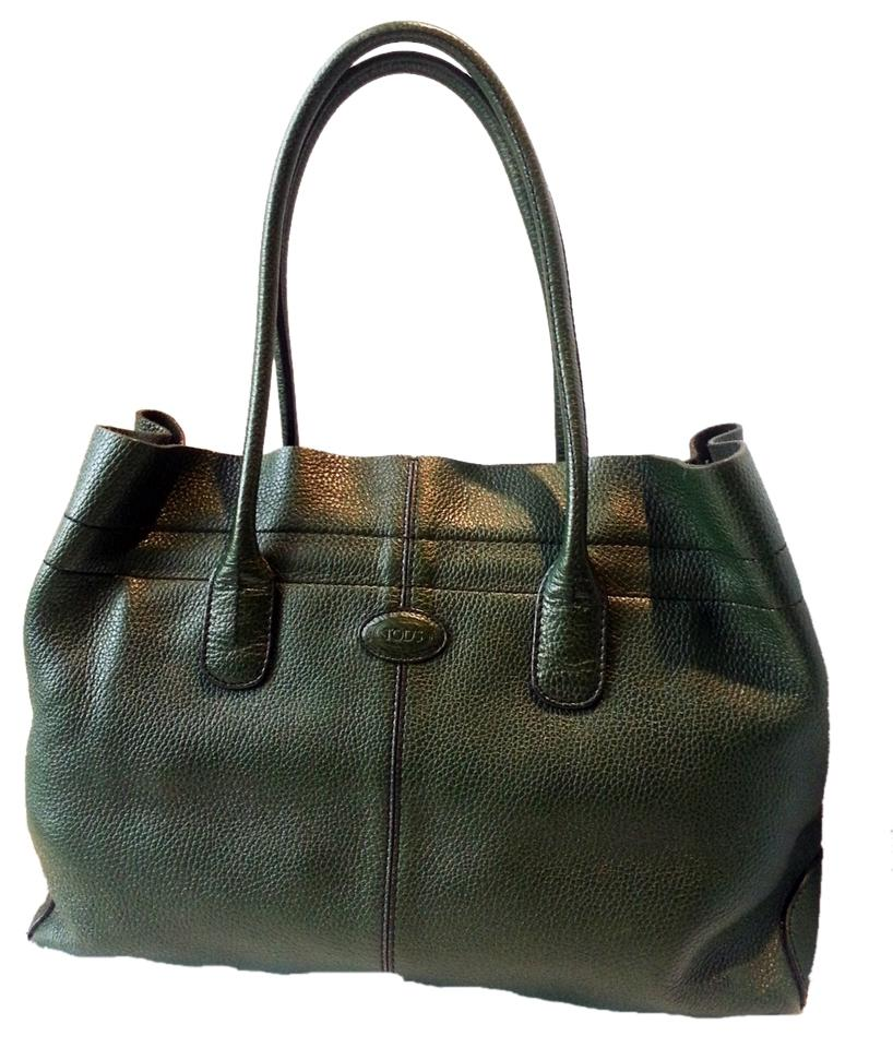 Tod's Leather D-bag Silver Hardware Rolled Handles Made In Italy Lampo Zipper  Shoulder Bag