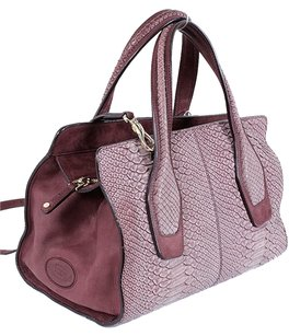 Tod's Python Snakeskin Two-tone Tote in Burgundy, Purple, Pink