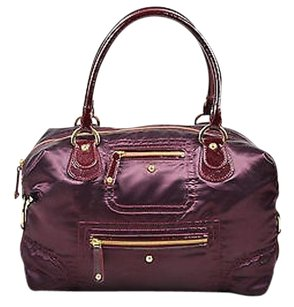 Tod's Tods Burgundy Gold Tone Nylon Shoulder Bag