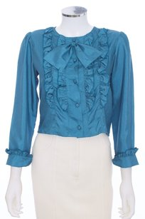 Tokyo New Mode Vintage Silk Button Down Ruffled Top Slate Blue