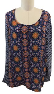 Tolani Blue Orange Multi Top Multi-Color