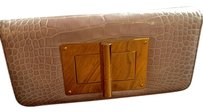 Tom Ford Alligator Gold Hardware Blush Nude Clutch