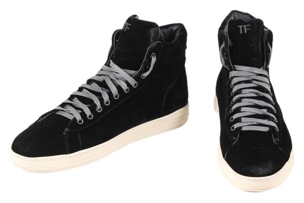 tom ford black * russel velvet high top sneaker sneakers size us