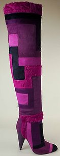Tom Ford Geometric Patchwork Purple Boots