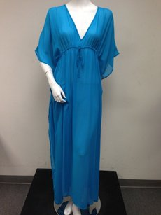 Blue Maxi Dress by Tommy Bahama Jewel Sheer Chiffon Cover Up Full Length Dolman Batwing