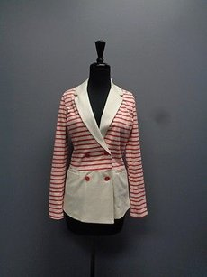 Tommy Hilfiger Beige W Buttons Cotton Blend Sma981 Red And Biege Jacket