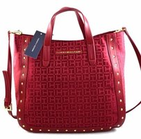 Tommy Hilfiger Studded Satchel in Red