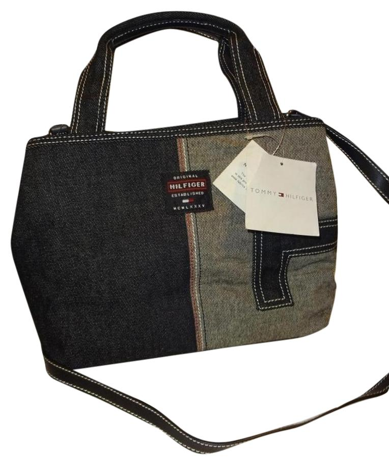 Tommy Hilfiger Darkwash Denim Canvas W/long Strap Blue/Black Tote ...