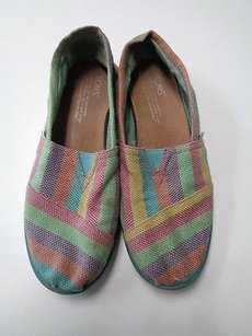 TOMS One For One Slip On Cotton Blend B3329 Yellow Blue And Orange Flats