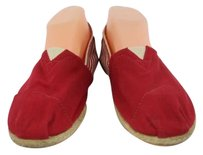 TOMS Slip On 8m Striped Casual Canvas Red, Ivory Flats
