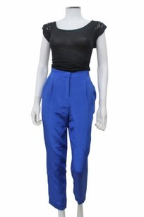 Topshop Pleated Front Cropped Capri/Cropped Pants Royal Blue