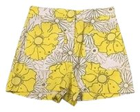 Topshop N Cotton Shorts Yellow And White
