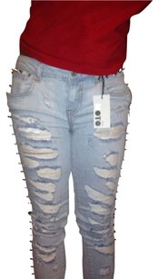 Topshop Destroyed Distressed Ripped Skinny Jeans-Distressed