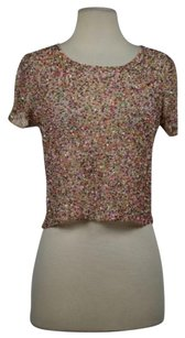 Topshop Shop Womens Textured Short Sleeve Casual Shirt Top Beige