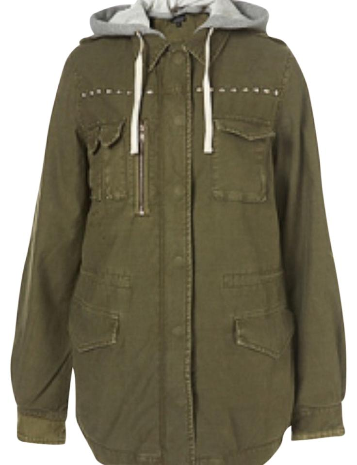 Topshop Army Green Trench Coat Size 6 (S)