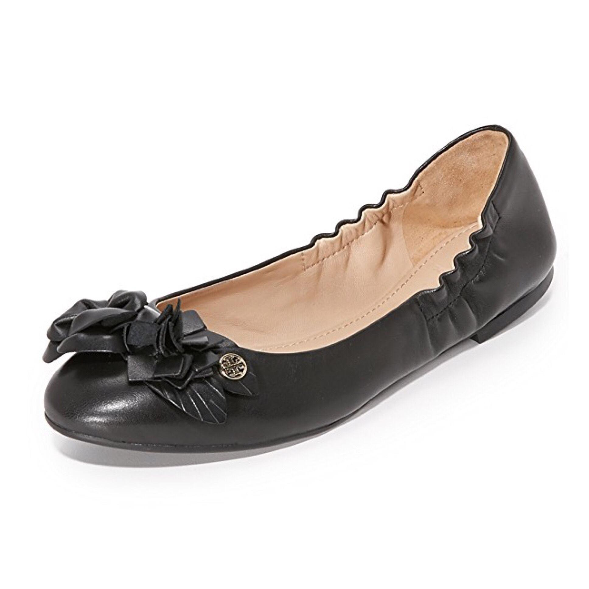 230a7adc3acba Tory Burch Black Blossom Leather Floral Floral Floral Logo Ballet Flats Size  US 8 Regular (