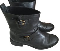 Tory Burch Bennie Buckle Moto Black Boots