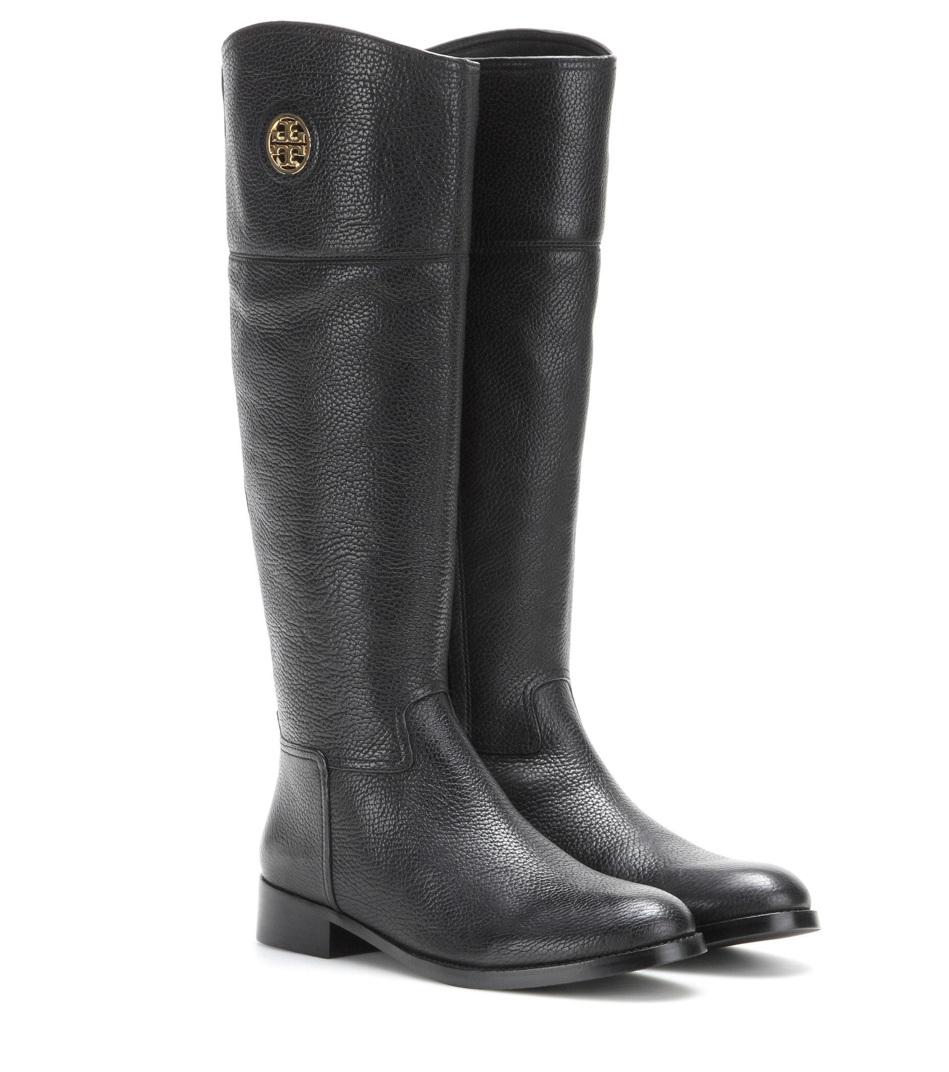 0023b4133 ... Men s Women s-Tory Burch Black Junction Riding Tumbled Tumbled Tumbled  Leather Boots Booties ...
