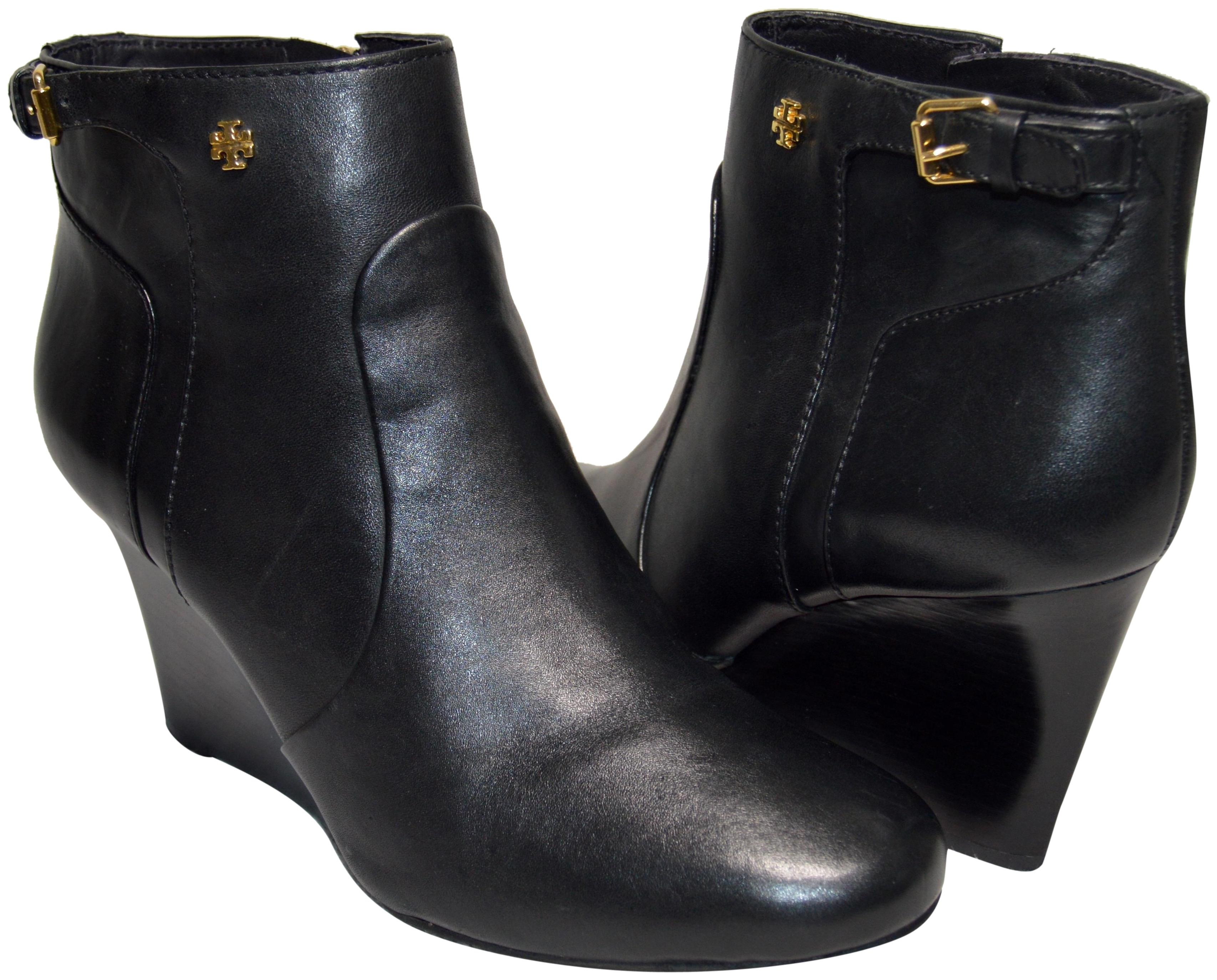 87c8f3f48a4 Tory Burch Black Milan 85mm Wedge Equestrian Calf Calf Calf Leather  Boots Booties Size US 10.5 Regular (M
