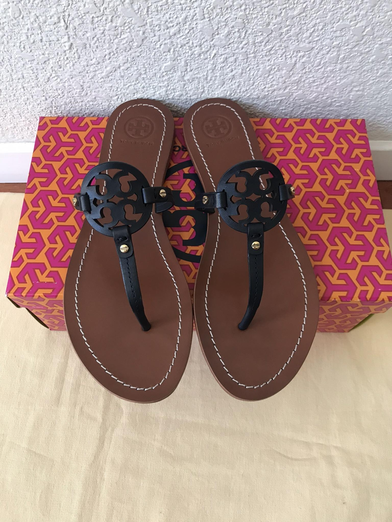 1018f9325476f ... Tory Tory Tory Burch Blue 8.5m Mini Miller Flat Sandals Size US 8.5  Regular ...
