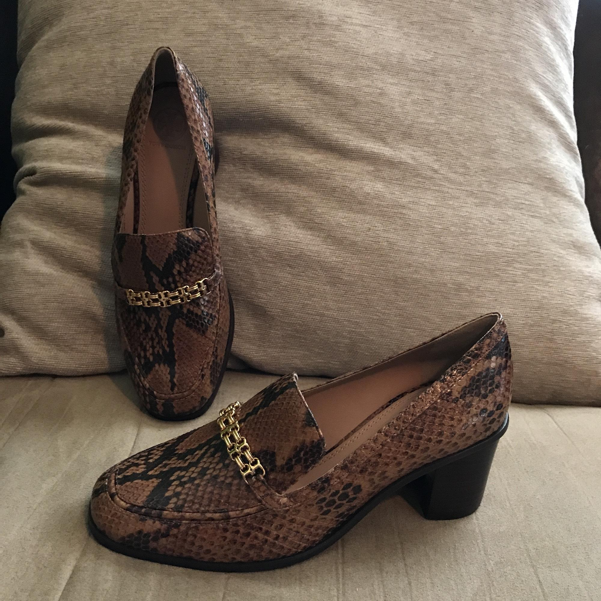d730bfe9a05ddf ... ireland tory burch leather python snakeskin loafers slip ons brown  black flats 15e32 8a860