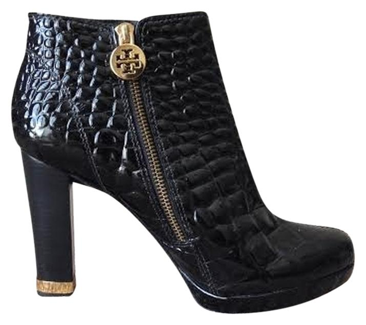 Tory Burch Brown Leigh Croc Croc Leigh Embossed Patent Leather Boots/Booties Size US 6.5 Regular (M, B) 3c5c72