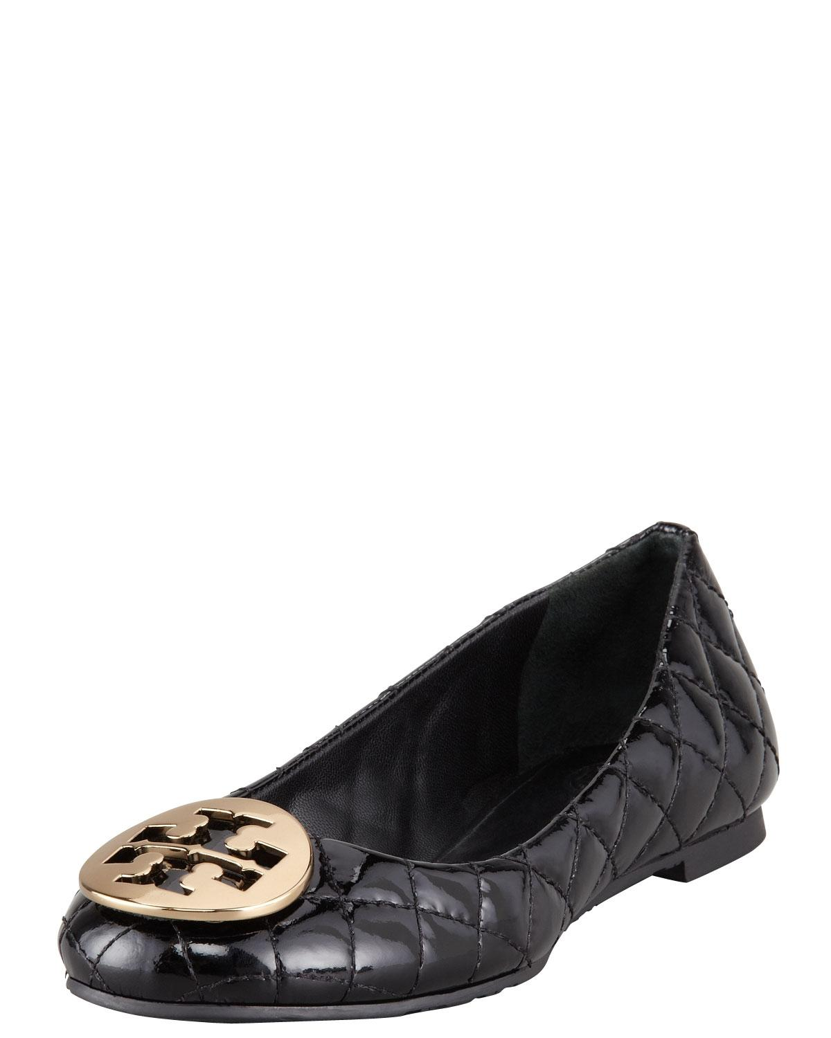 Tory Burch Quilted Gold Brown Flats