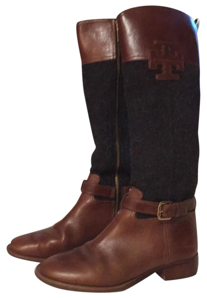 Tory Burch Charcoal Flannel and Cognac Brown Leather Riding Boots/Booties Size US 8.5 Regular (M, B)