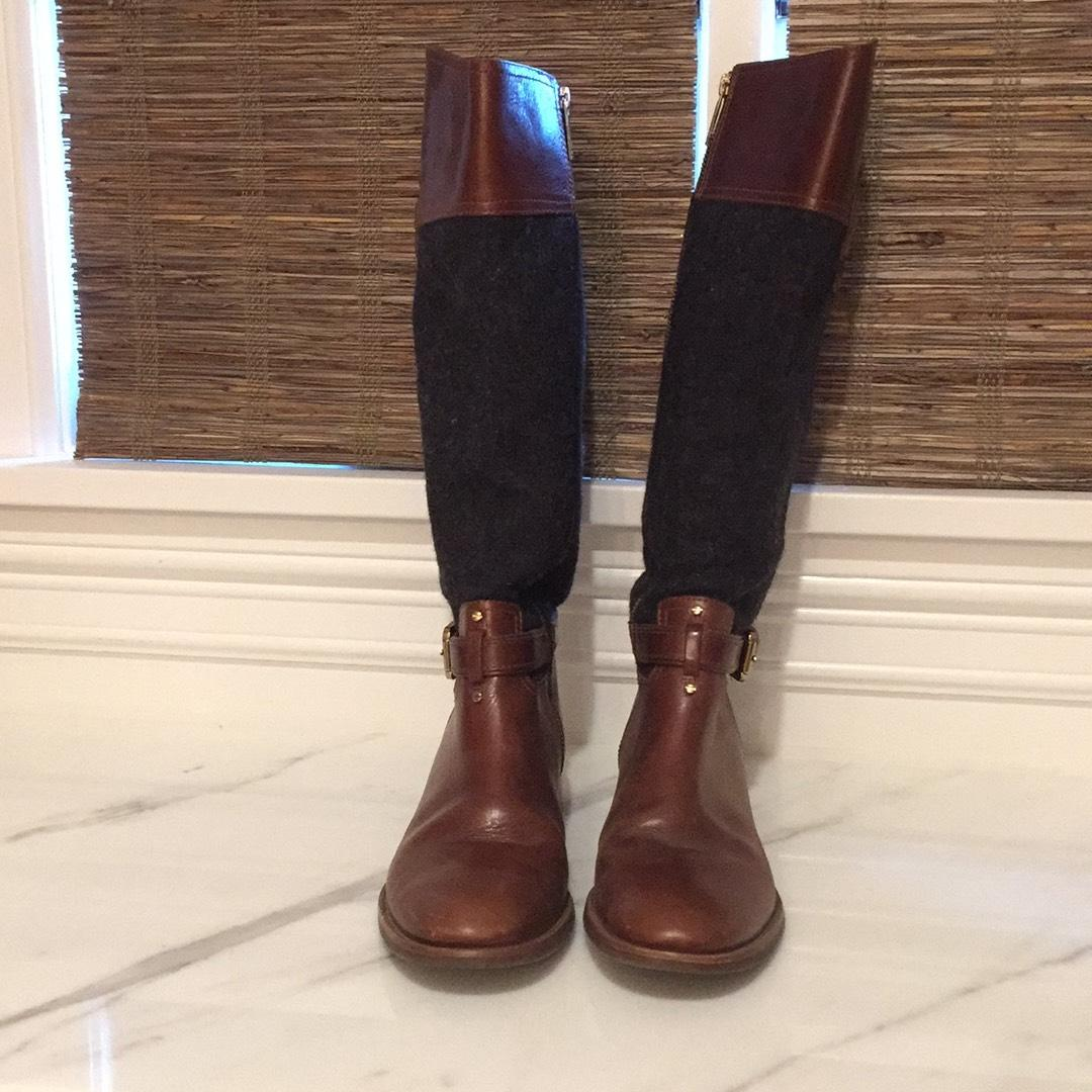 95a00963a92a7 coupon tory burch riding boots 08aa5 932a6  australia tory burch charcoal  flannel and cognac brown leather boots. 12345 7347f e5e02