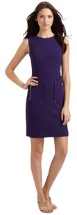 Tory Burch short dress Purple Crepe Gold Hardware Sheath Wool Sleeveless on Tradesy
