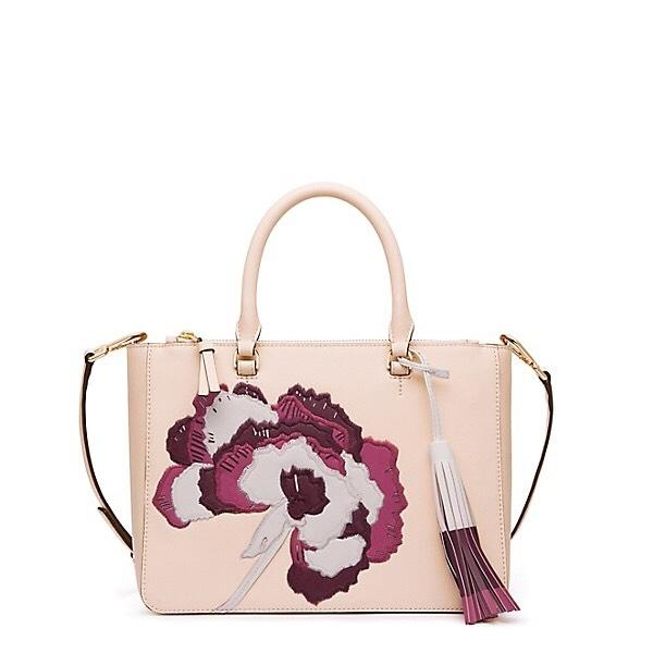 Tory Burch Robinson Floral Applique Tote Pink Saffiano Leather Small Beige Cross Body Bag On ...