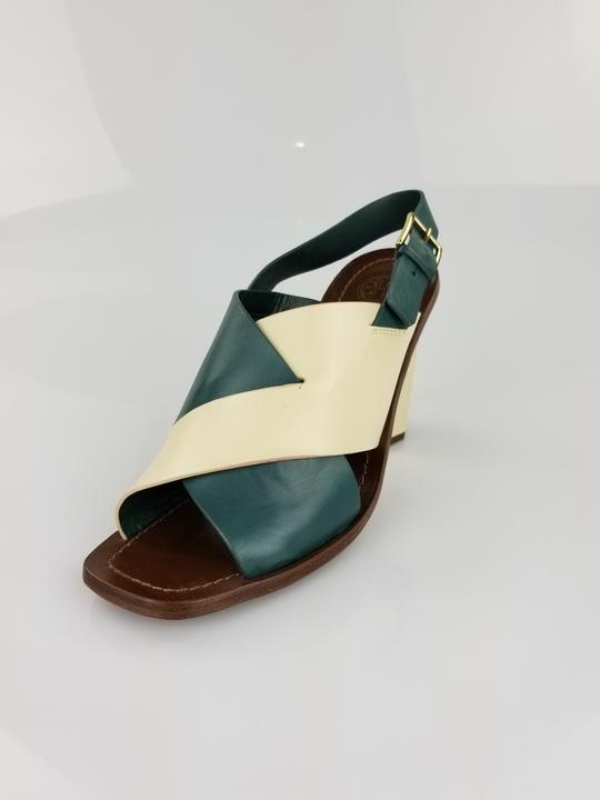 Tory Burch Heels Block Summer Leather 8.5 Dark Teal and Ivory Sandals