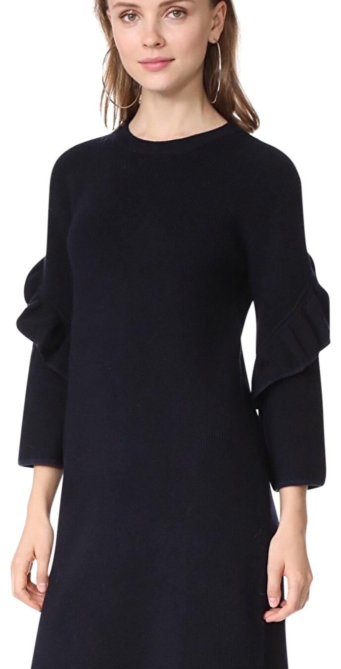 Lulus Exclusive! When the fog rolls in, you'll be happy to take to the streets in the I Mist You Navy Blue Midi Sweater Dress! A stylish mock neck tops this ribbed knit dress with fitted long sleeves/5().