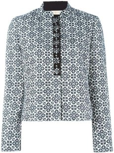 Tory Burch Embellished Coat Pattern navy blue/ivory Jacket